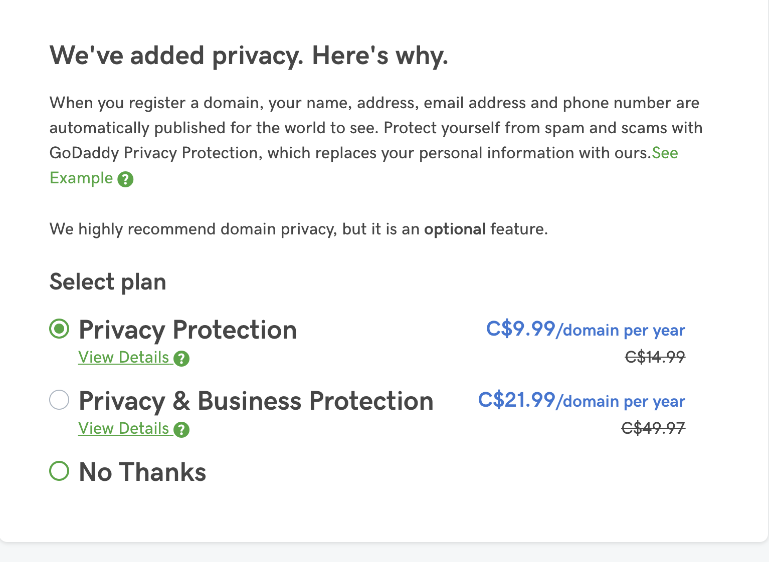 godaddy privacy policy